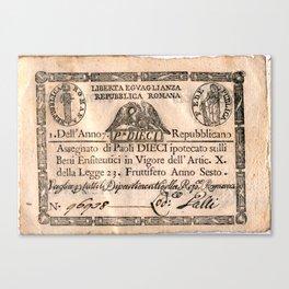 Assegnato da 10 paoli, emesso nell'anno 7. repubblicano (1798) Canvas Print