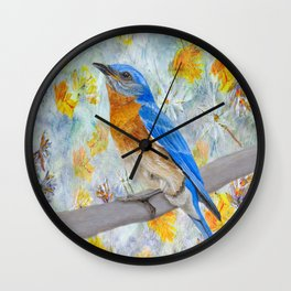 Springtime Eastern Bluebird Wall Clock