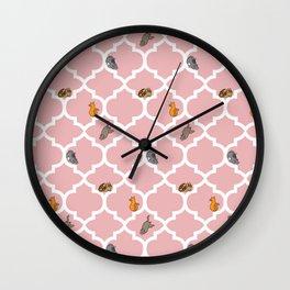 Cats on a Lattice - Pink Wall Clock