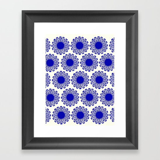 vintage flowers blue  Framed Art Print