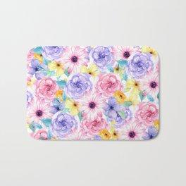 Trendy pink lavender yellow watercolor floral Bath Mat