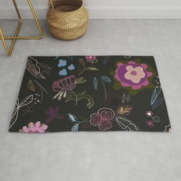 Black background with abstract flowers. Surreal floral pattern Rug