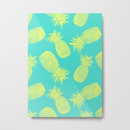 Pineapple Pattern - Turquoise & Lemon Metal Print