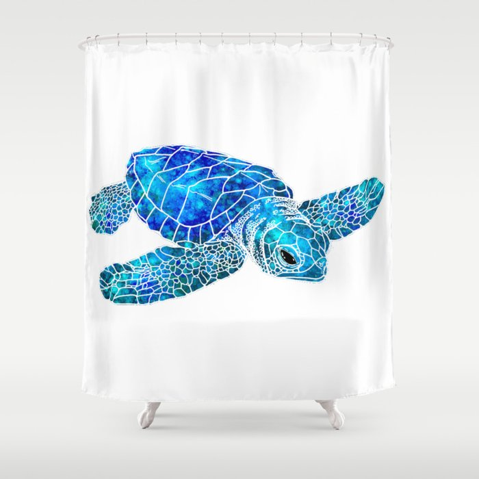 Sea Turtle Watercolor Art Shower Curtain