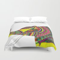 allison argent Duvet Covers featuring Allison Elephant by Laura Maxwell
