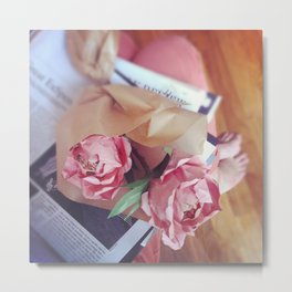 Paper peonies & the morning paper  Metal Print