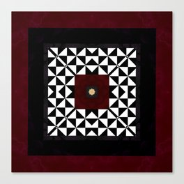 Ruby Red Marble w/ Blk & White Geometrica Pattern Insert Canvas Print