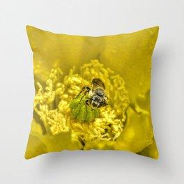 Rainy Day Cactus Flower Bee Throw Pillow