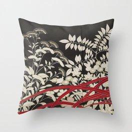 Kuro-tomesode with a Pair of Pheasants in Hiding (Japan, untouched kimono detail) Throw Pillow