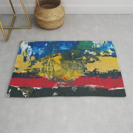 Lucas Abstract Painting Blue Black Yellow Rug