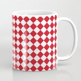 Small Diamonds - White and Fire Engine Red Coffee Mug