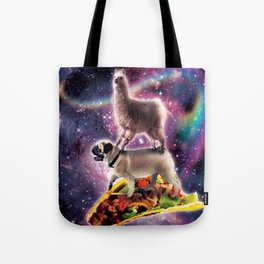 Rainbow Space Llama On Pug Riding Taco Tote Bag