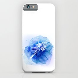 Blue Abstract Watercolor Seashell Rubber Stamp on White 2 Minimalist Coastal Art iPhone Case