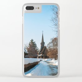Heavy snow on a street in a traditional Romanian village Clear iPhone Case