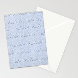 Serenity Blue Faux Lace Stationery Cards