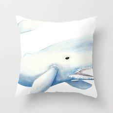 Nautical Whale Watercolor Throw Pillow