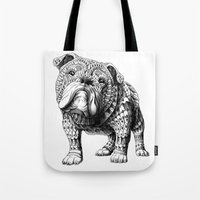 english bulldog Tote Bags featuring English Bulldog by BIOWORKZ