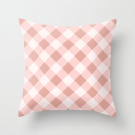 Diagonal buffalo check pale pink Throw Pillow