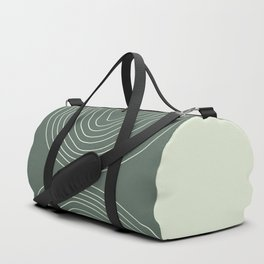 Hand drawn Geometric Lines in Forest Green 4 Duffle Bag