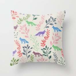 Watercolor Floral & Fox III Throw Pillow