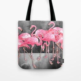 Flamingo Collage in Watercolor and Ink Tote Bag