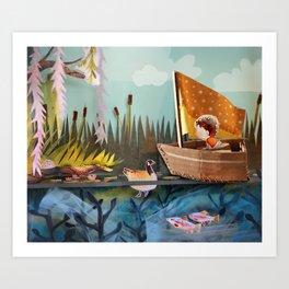 Pond Adventure Art Print