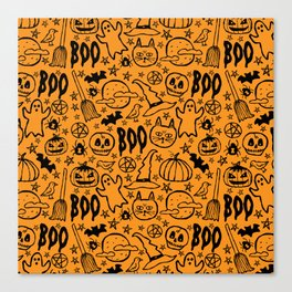 Spooky Pattern - Orange Canvas Print