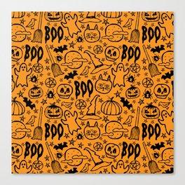 Spooky Pattern - Orange Canvas Print