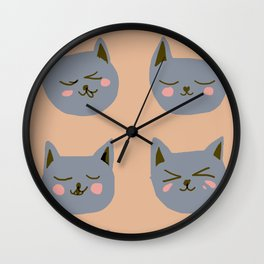 Abstraction_CAT_FACE_EXPRESSION_Minimalism_001 Wall Clock