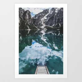 A staircase leading to the water in an mountain lake in the Dolomites Art Print