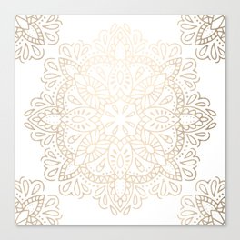 Mandala White Gold Shimmer by Nature Magick Canvas Print