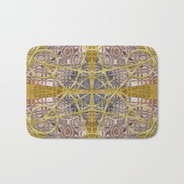 Golden Steampunk Geometry Star Bath Mat