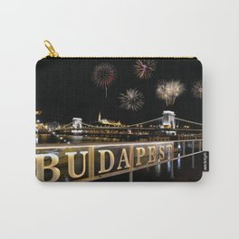 Chain bridge  with fireworks on Budapest city. Carry-All Pouch