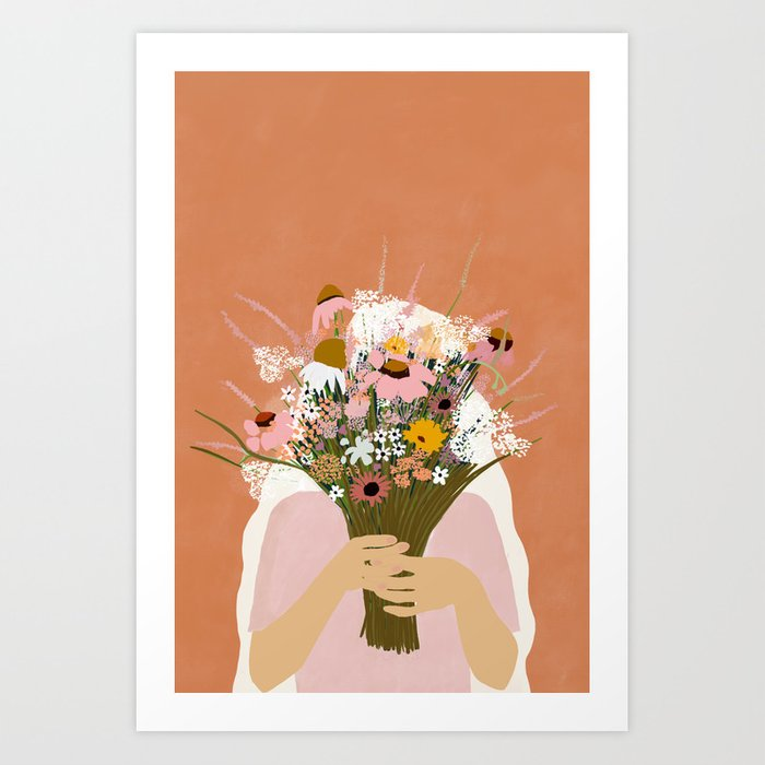HIDING BEHIND THE FLOWERS illustration Art Print