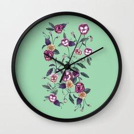 Pansies and Peonies in Purple Wall Clock