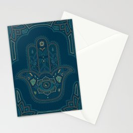Hamsa Hand in Blue and Gold Stationery Cards