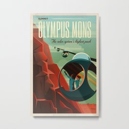 Mars Retro Space Travel Poster Metal Print