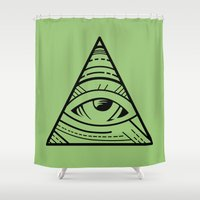 illuminati Shower Curtains featuring CSS Pun - Illuminati by iwantdesigns