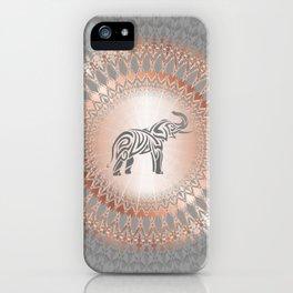 Rose Gold Gray Elephant Mandala iPhone Case