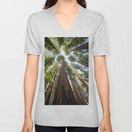 Humboldt Redwoods Photography, California State Park, Giant Redwoods, Forest Art, Tree Tops Unisex V-Neck