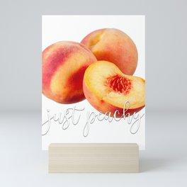 Food Puns Gift Just Peachy Peach Peaches Mini Art Print
