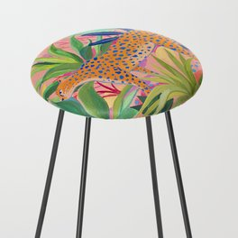 Leopard in Succulent Garden Counter Stool