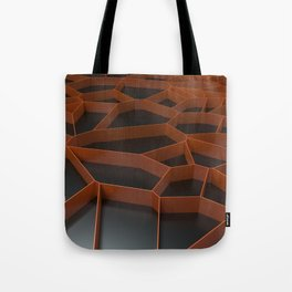 Orange voronoi grate on black background Tote Bag
