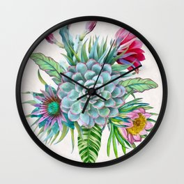 Exotic flower garden Wall Clock