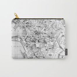 Vintage Map of Genoa Italy (1906) BW Carry-All Pouch