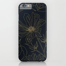 Elegant Gold Flowers outlines Blue gradient design iPhone Case