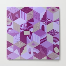 Isometric Cubes - Orchid Metal Print
