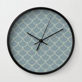 Blue Neutral Green Fish Scales Pattern Wall Clock
