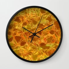 amber floral Wall Clock