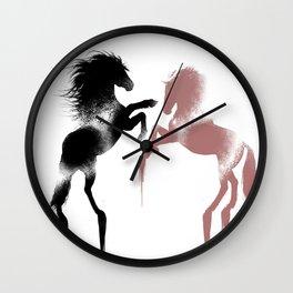 Black and Brown Horses Wall Clock
